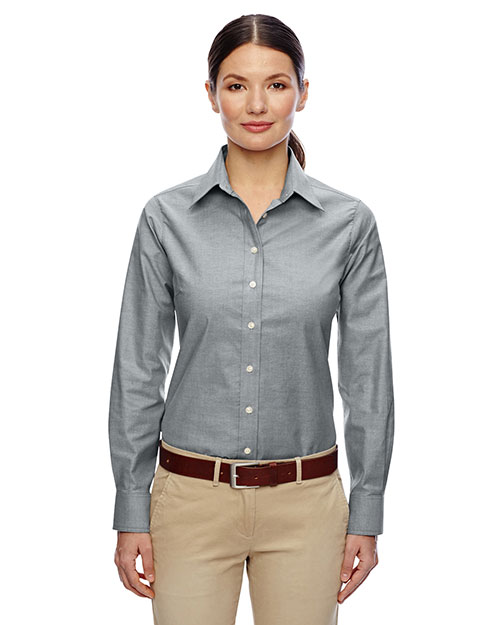 Harriton M600W Women Long-Sleeve Oxford With Stain-Release at GotApparel