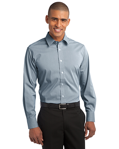 Port Authority S647 Men Fine Stripe Stretch Poplin Shirt at GotApparel
