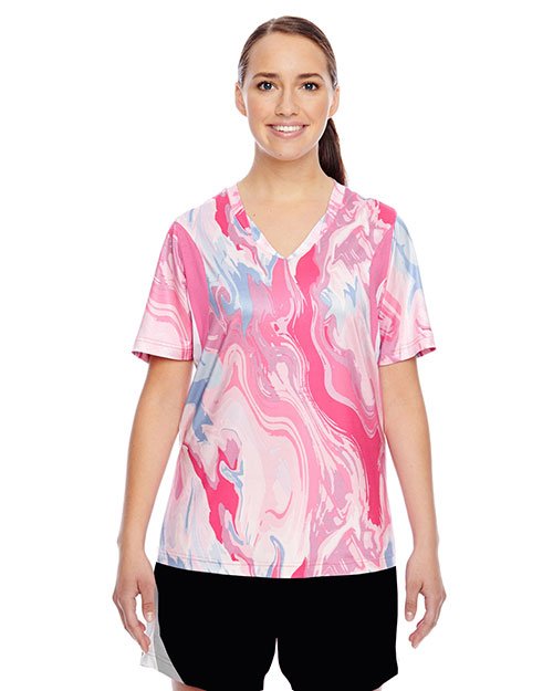 Team 365 TT12W Women Short-Sleeve V-Neck All Sport Sublimated Pink Swirl Jersey at GotApparel