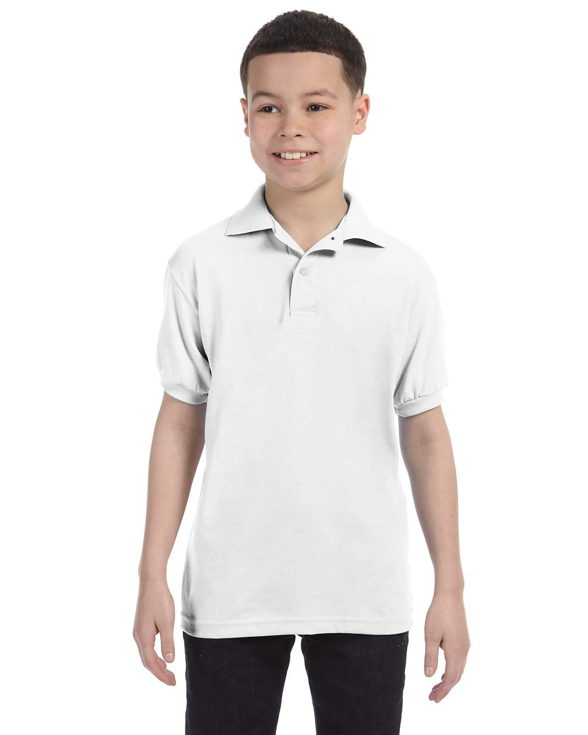Hanes 054Y Boys 5.2 oz., 50/50 ComfortBlend EcoSmart Jersey Knit Polo at GotApparel
