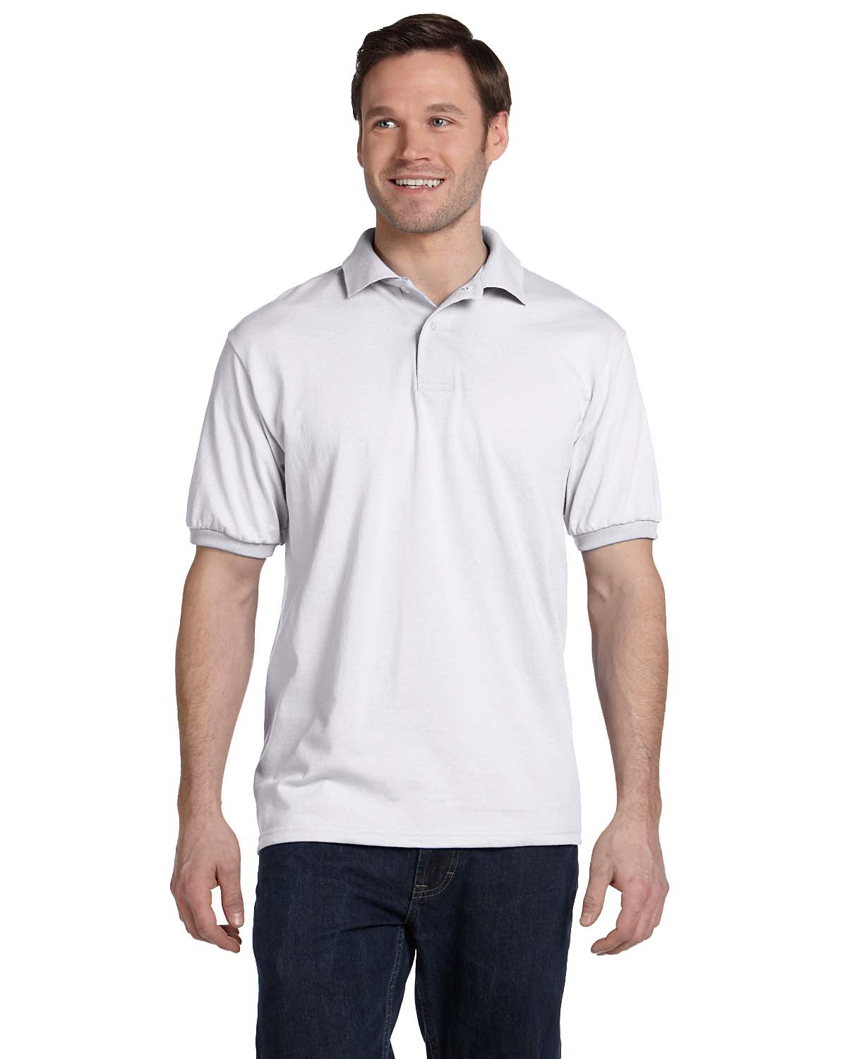 Hanes 054 Men 5.2 oz., 50/50 ComfortBlend EcoSmart Jersey Knit Polo at GotApparel