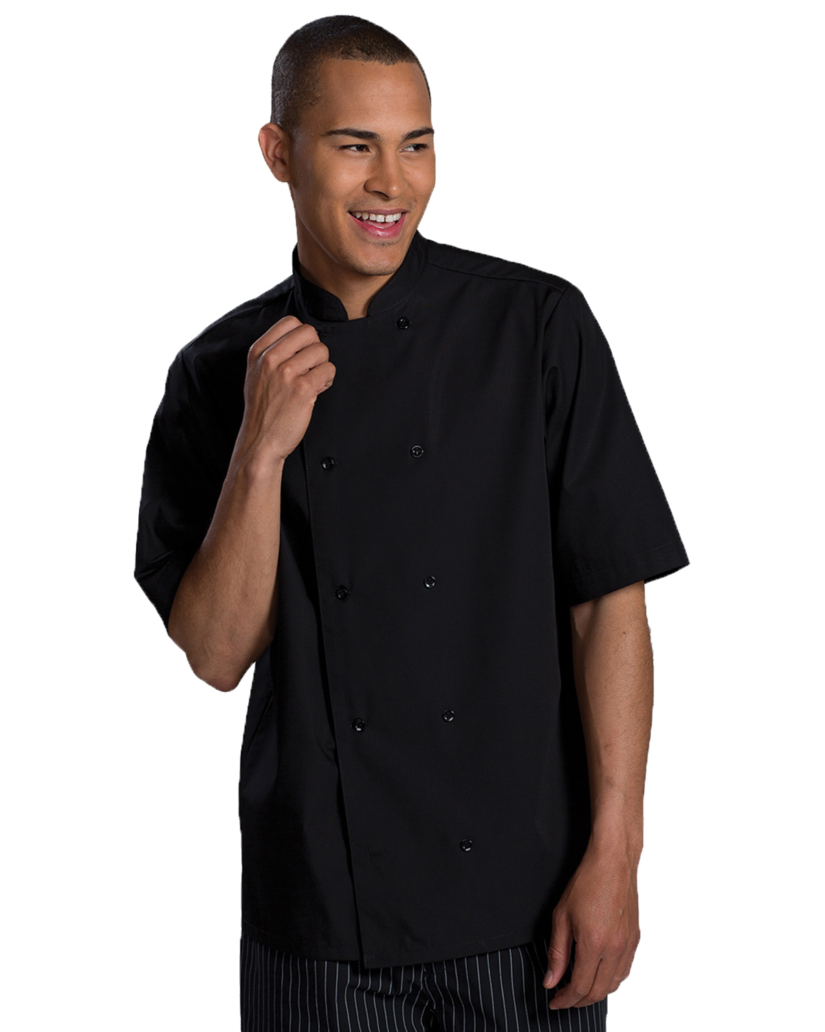 Edwards 1350 Unisex Double Breasted Bistro Short-Sleeve Server Shirt at GotApparel