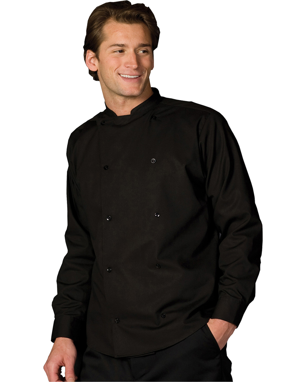 Edwards 1351 Unisex Double Breasted Bistro Long-Sleeve Server Shirt at GotApparel