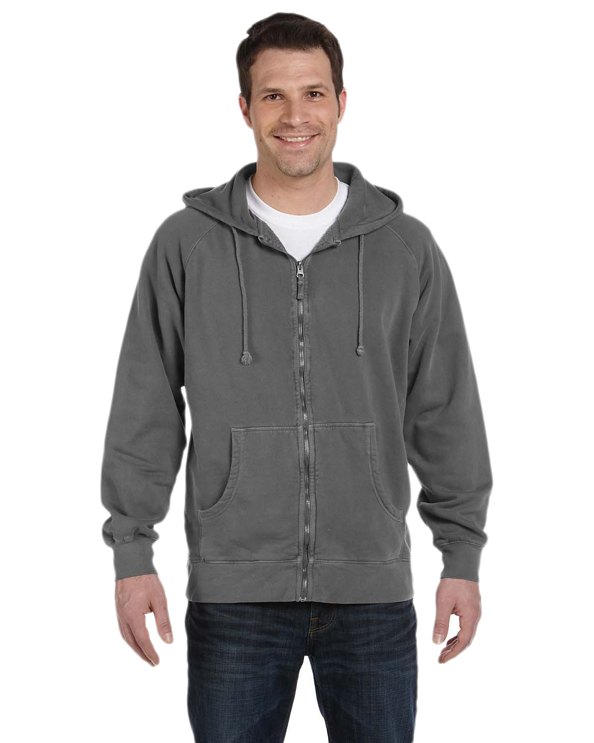 Authentic Pigment 1940 Men 11 oz. Pigt-Dyed Ringspun Cotton Full-Zip Hood at GotApparel
