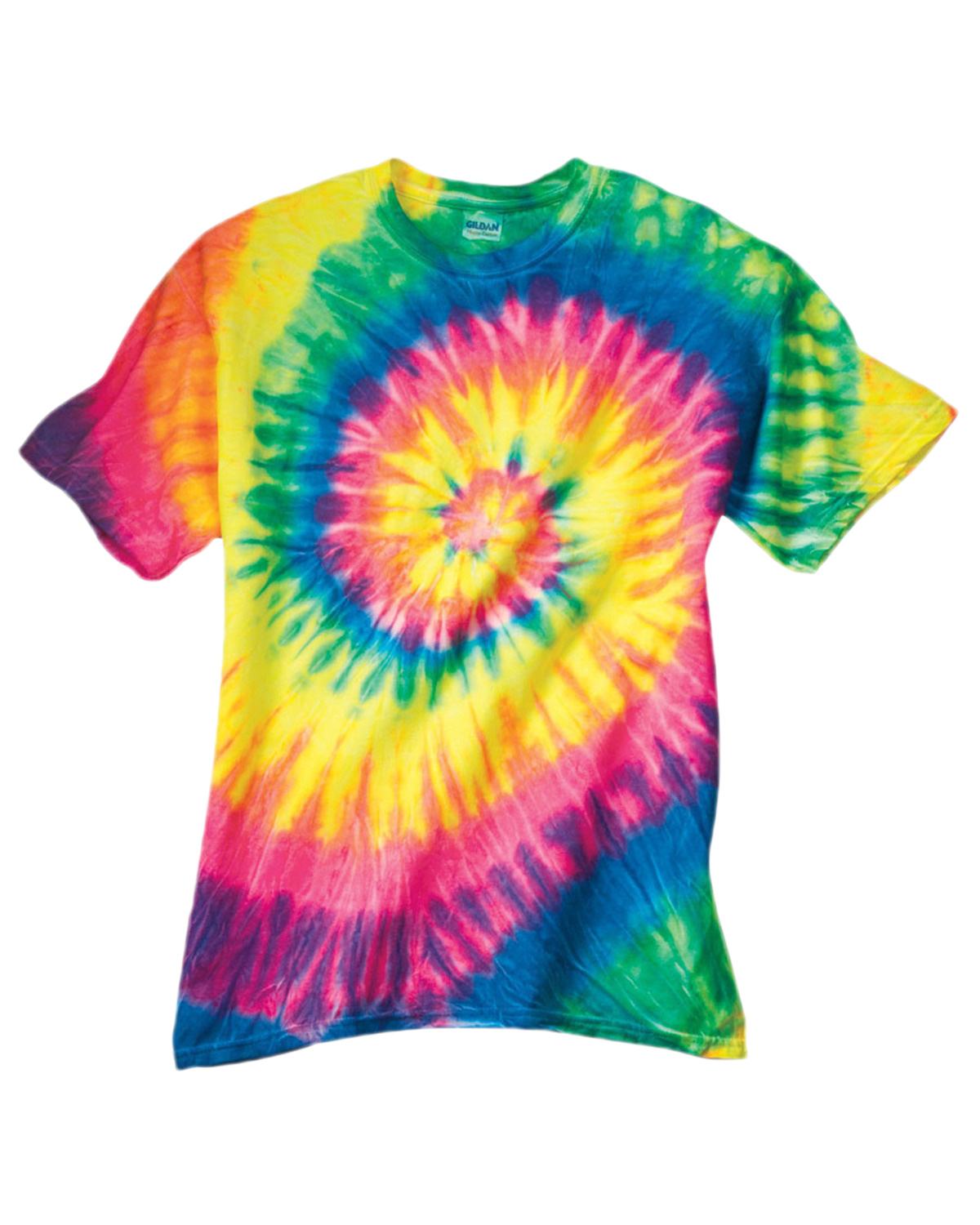 Gildan Tie-Dyes 69 Men Dyenomite Adult Neon Spiral Rainbow Pigt-Dyed Tee at GotApparel