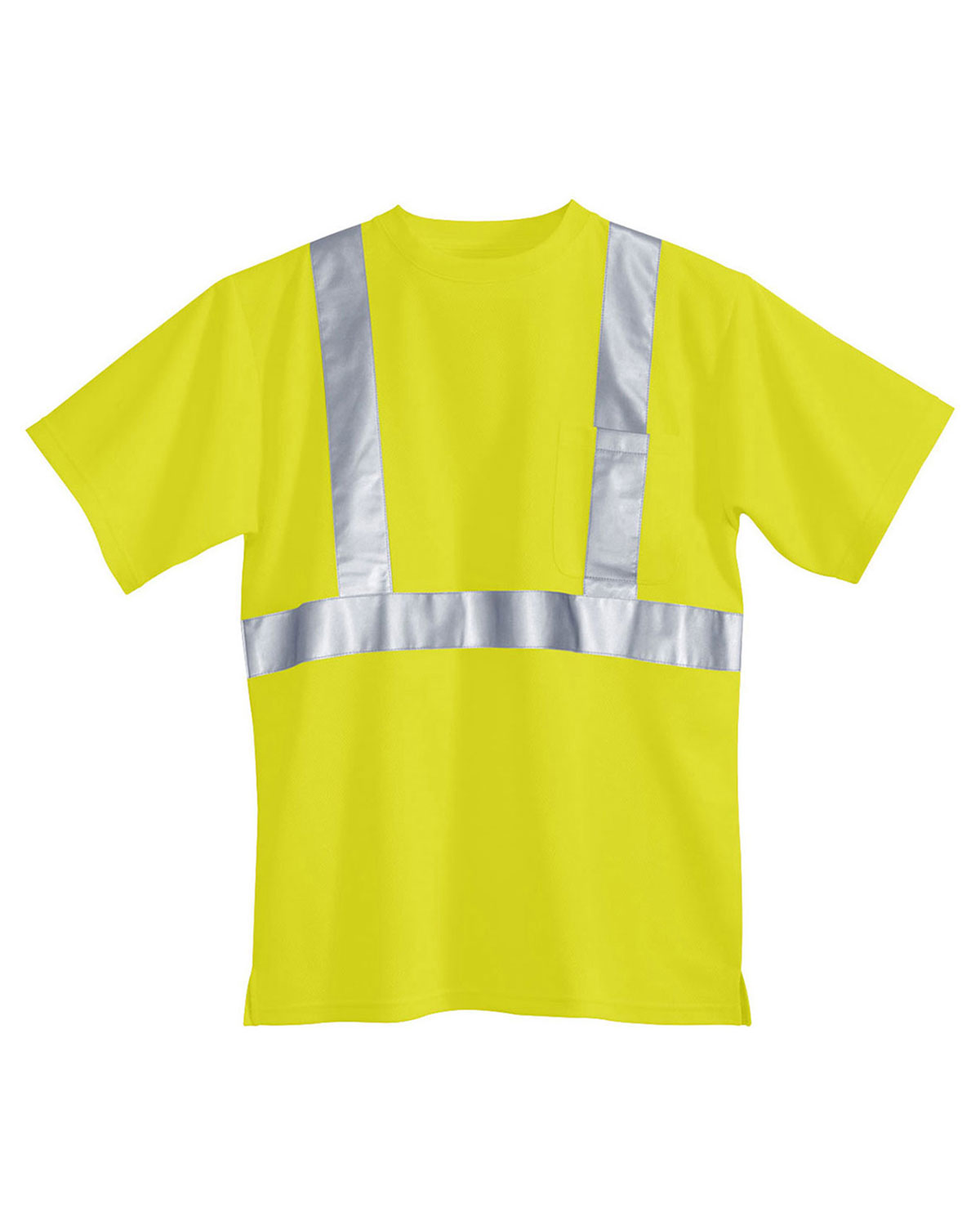 Tri-Mountain 222 Men Boundary Crew Neck Short-Sleeve Safety Shirt Ansi Class 2/Level 2 at GotApparel
