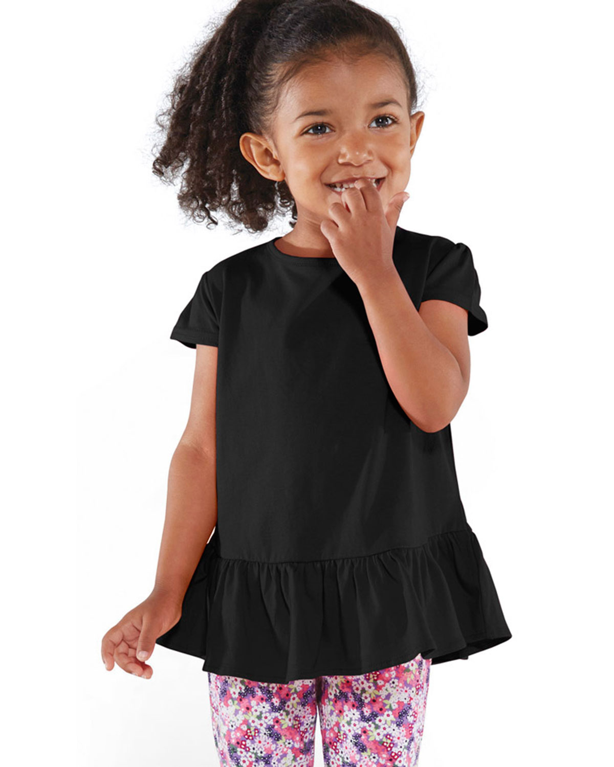 Rabbit Skins 3327 Toddlers Fine Jersey Ruffle T-Shirt at GotApparel