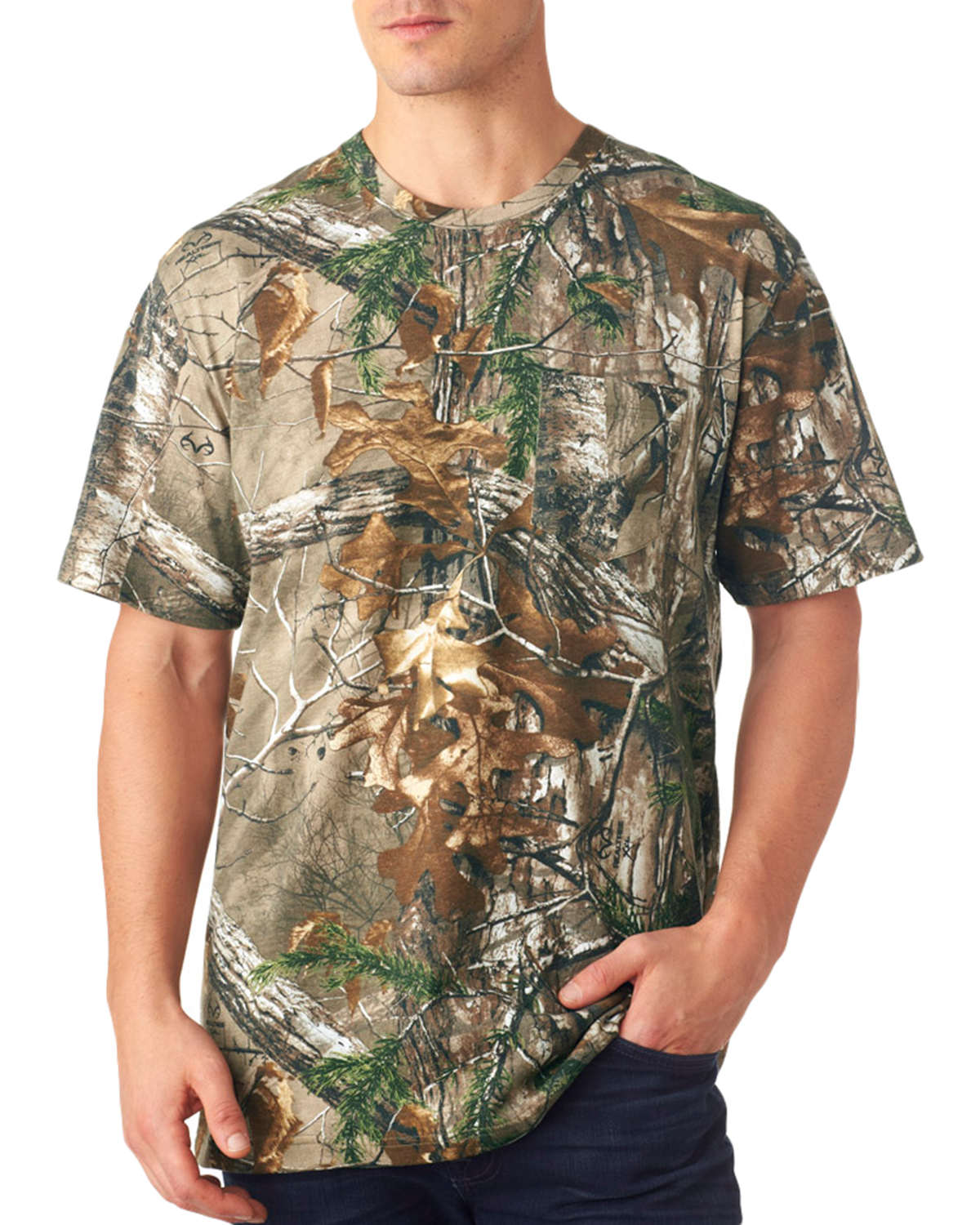 Code V 3982 Officially Licensed Realtree Camouflage Short Sleeve Pocket T-Shirt at GotApparel