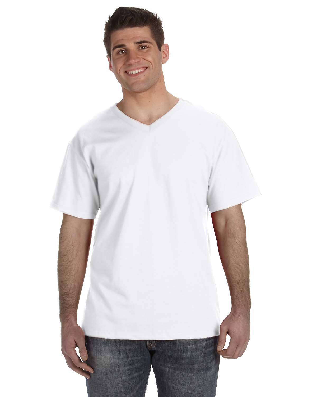 Fruit of the Loom 39VR Men 5 oz., 100% Heavy Cotton HD V-Neck TShirt at GotApparel