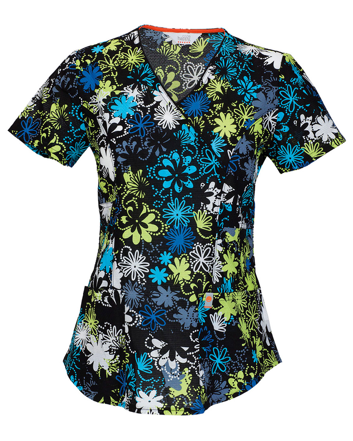 Code Happy 46612A Women's V-Neck Floral Print Scrub Top at GotApparel