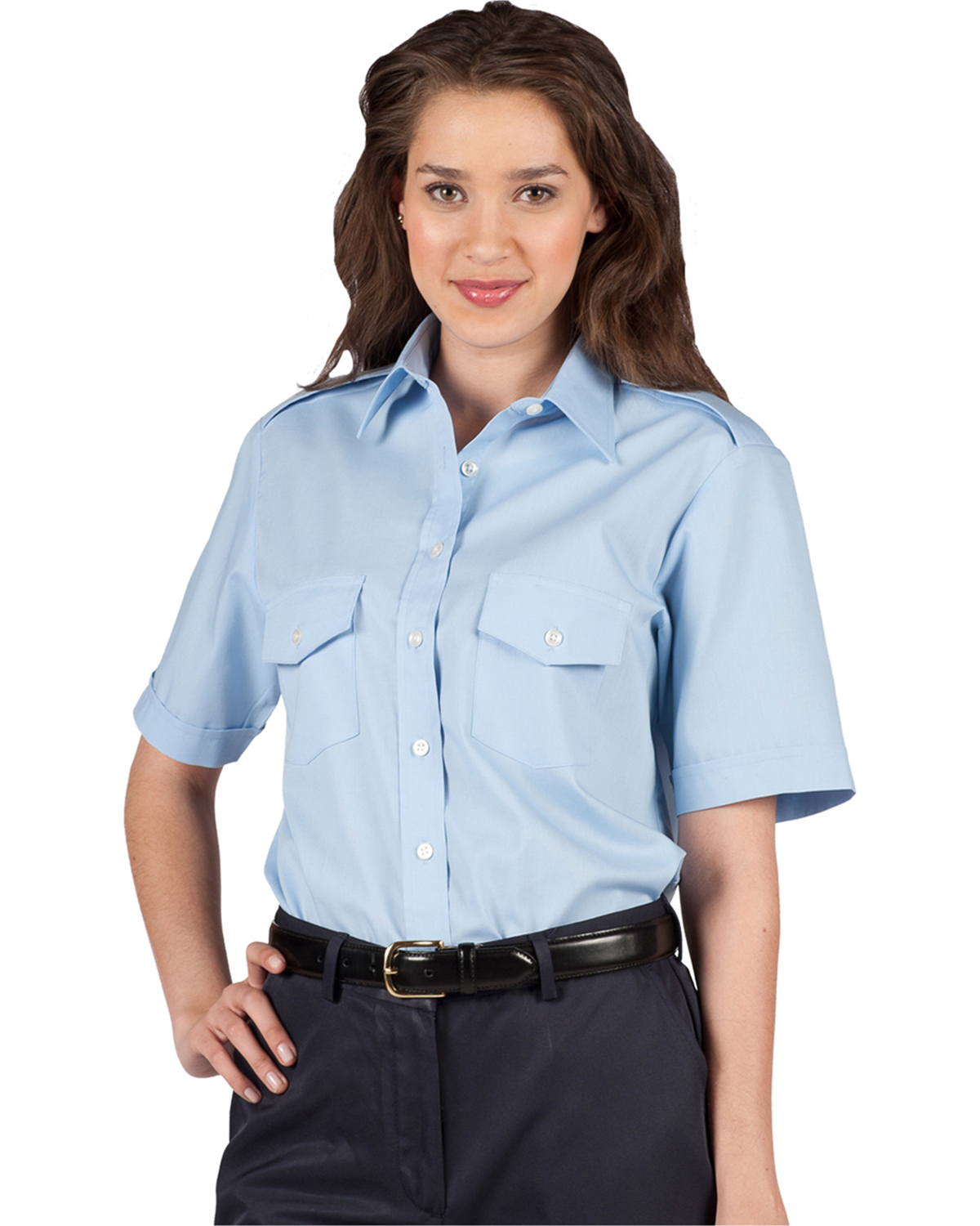 Edwards 5212 Women's Traditional Collar Navigator Poplin Short-Sleeve Shirt at GotApparel