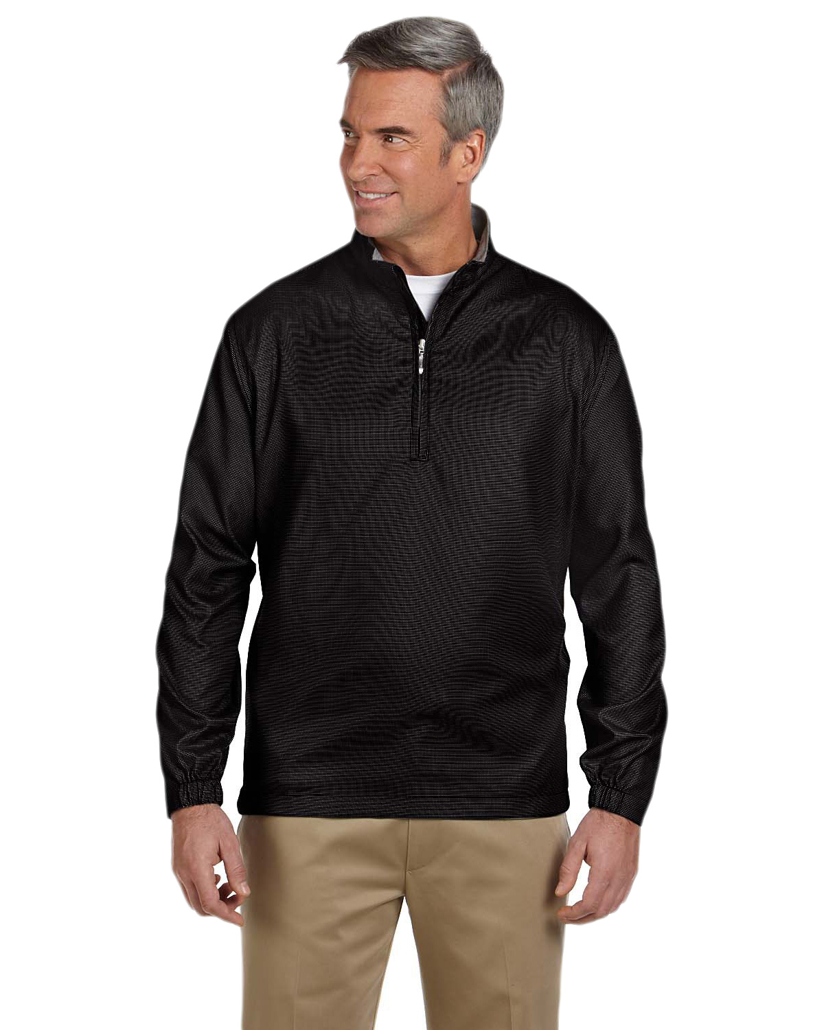 Ashworth 5330 Men Houndstooth HalfZip Jacket at GotApparel