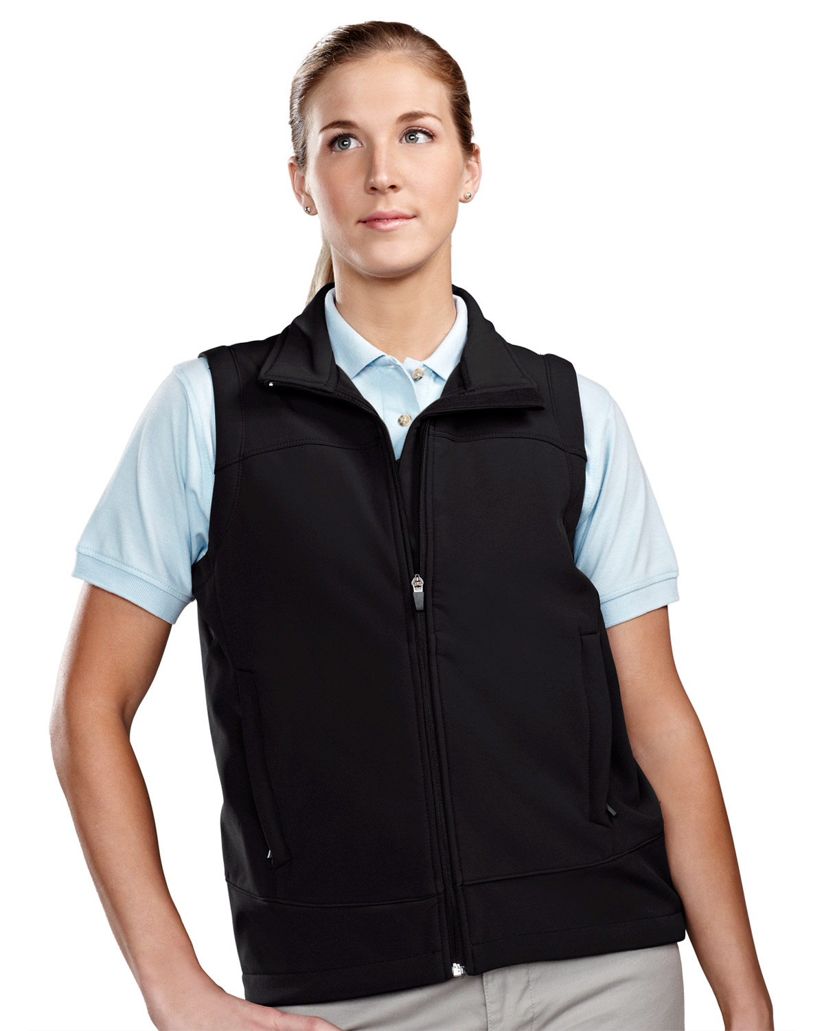 TRI-MOUNTAIN PERFORMANCE 6410 Women Zeal Poly Stretch Bonded Soft Shell Vest at GotApparel