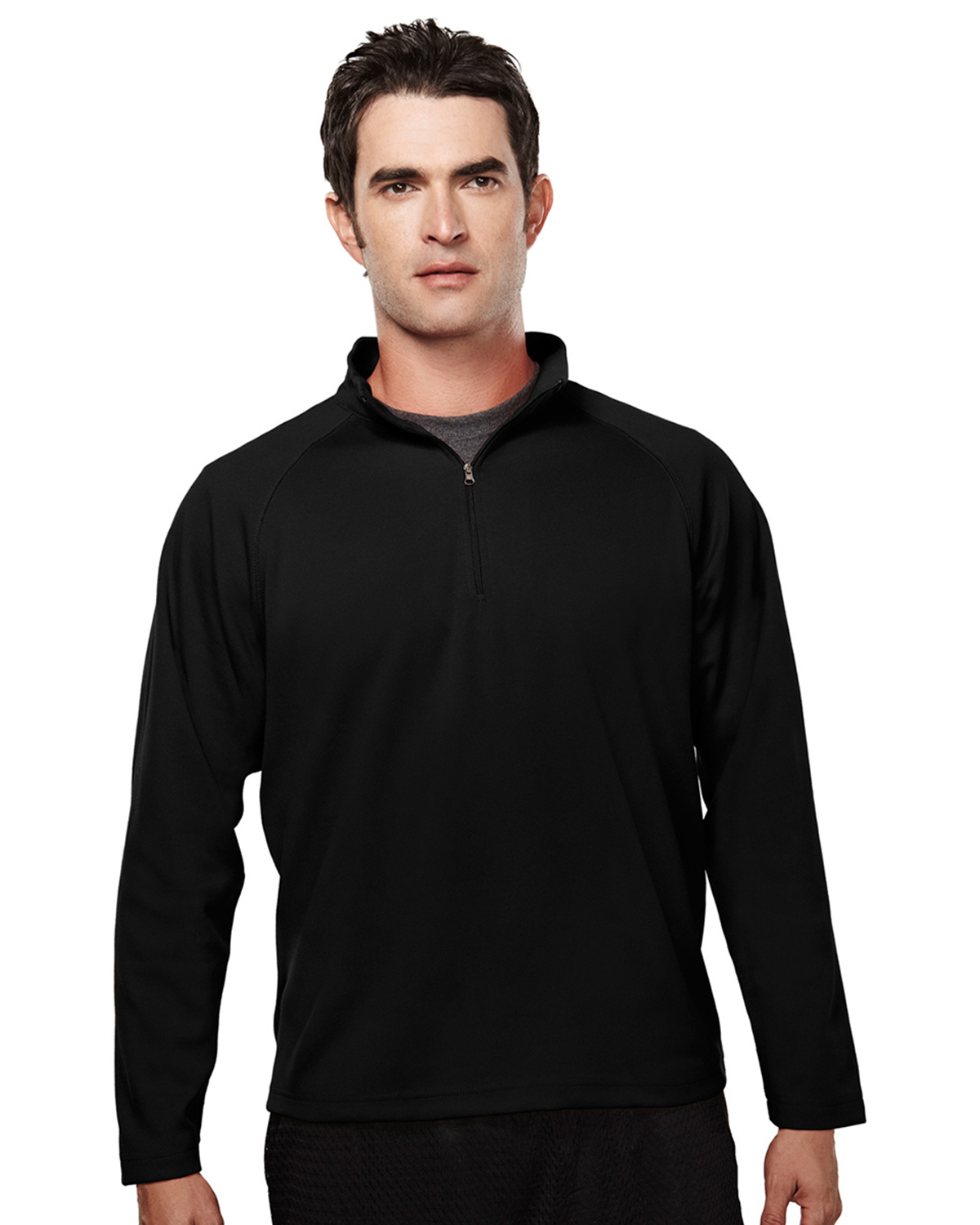 TRI-MOUNTAIN PERFORMANCE 655 Men Milestone Poly Ultracool Pique 1/4 Zip Pullover Shirt at GotApparel