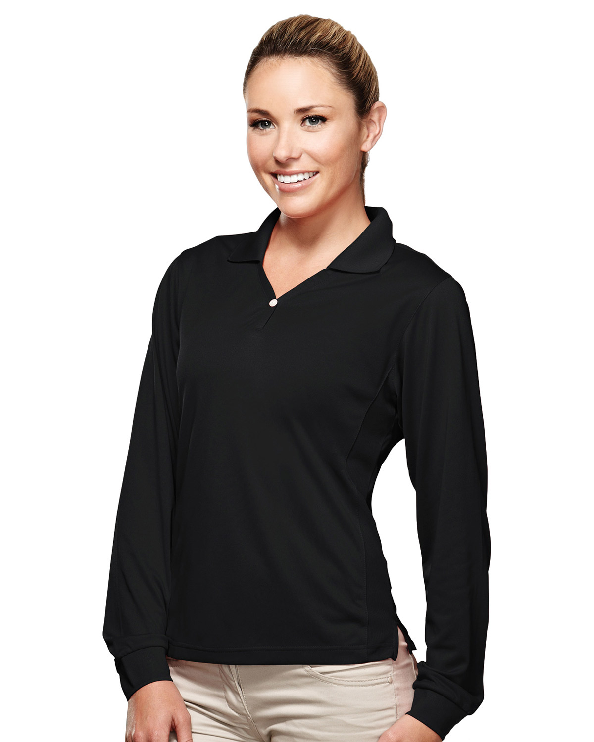 TRI-MOUNTAIN PERFORMANCE 656 Women Eclipse Poly Ultracool Pique Y Neck Long Sleeve Golf Shirt at GotApparel