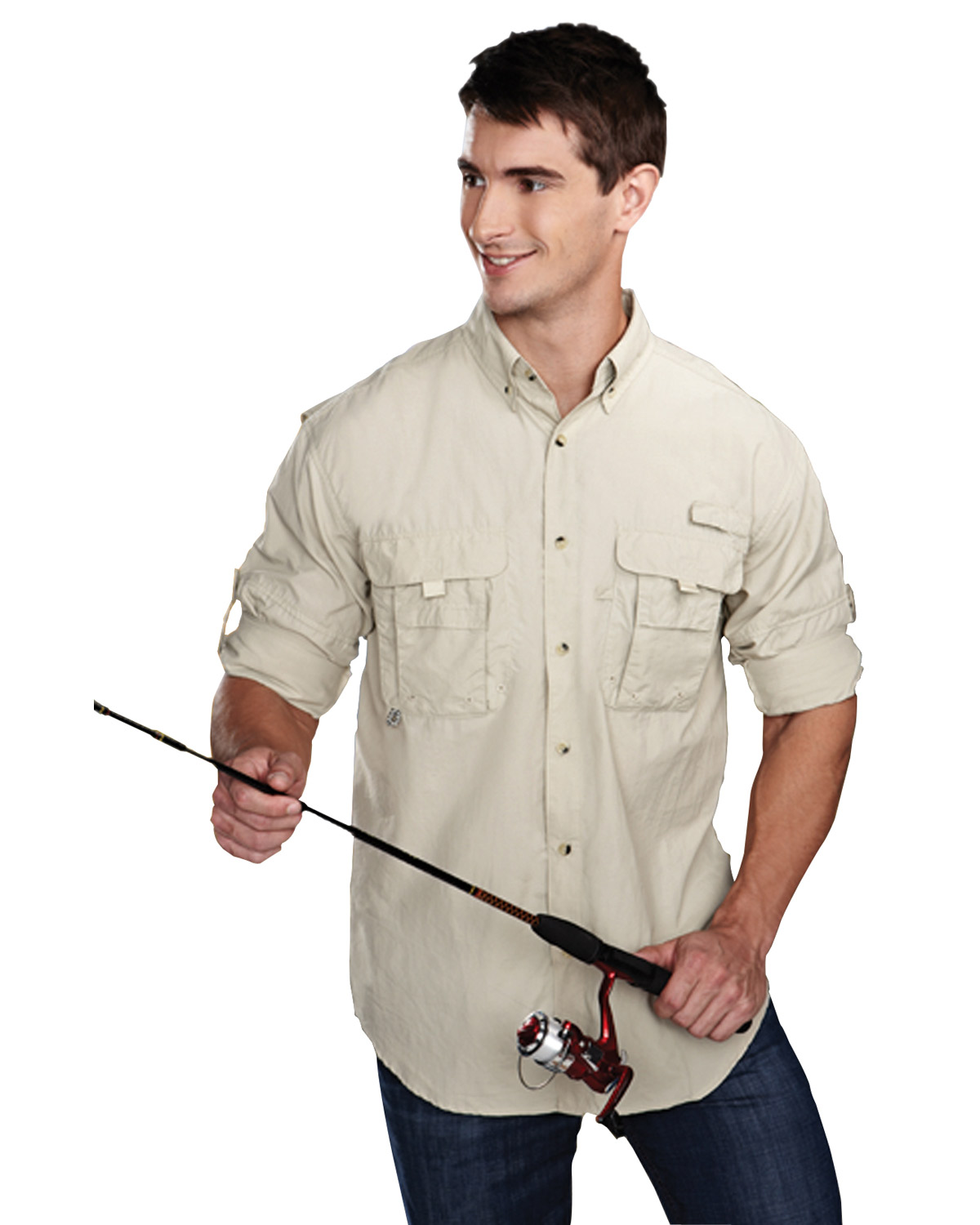 TRI-MOUNTAIN PERFORMANCE 705 Men Marlin Nylon Long Sleeve Shirt With UPF Protection And Ventilated Back at GotApparel