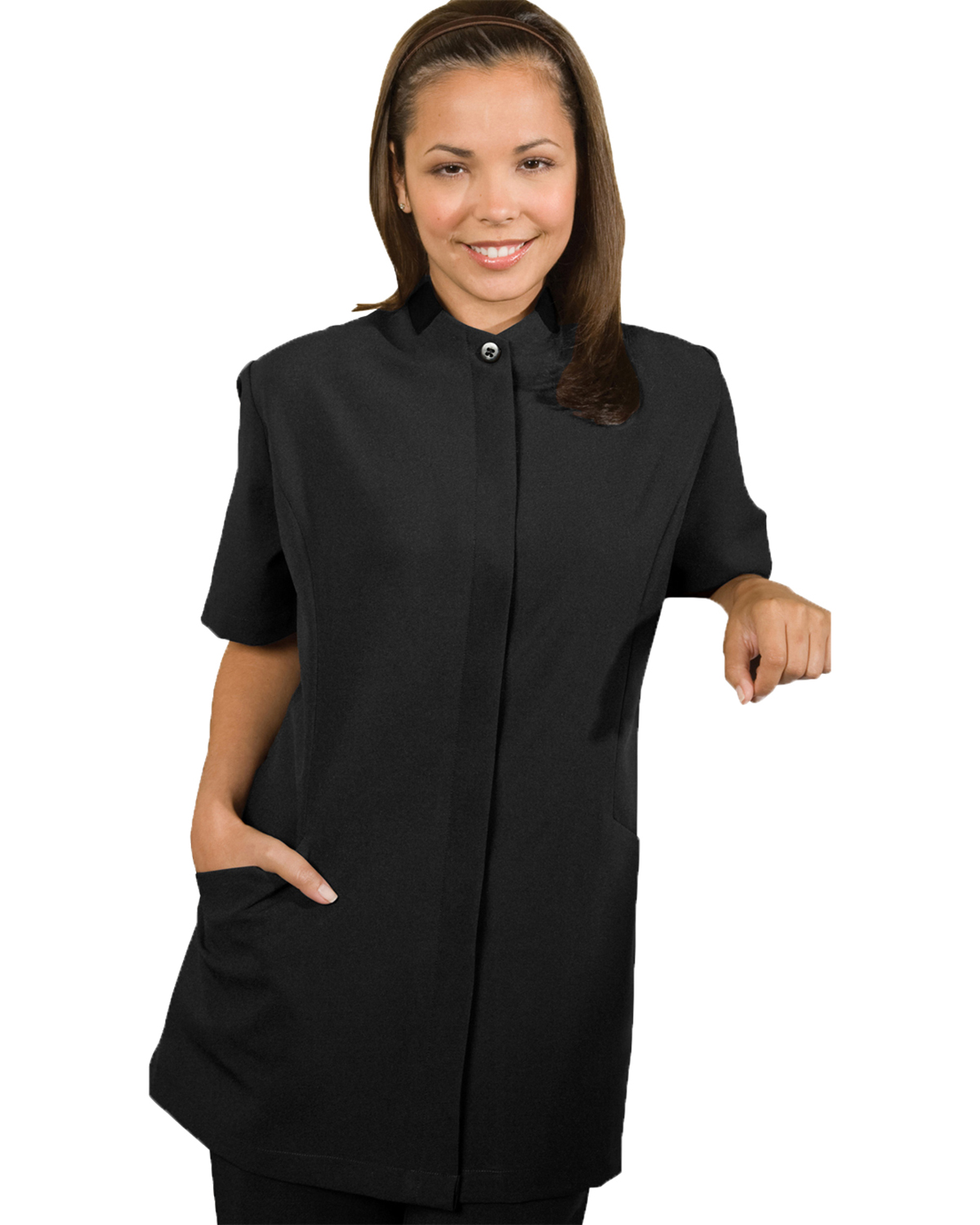 Edwards 7278 Women's Contrast Collar Short-Sleeve Housekeeping Tunic at GotApparel