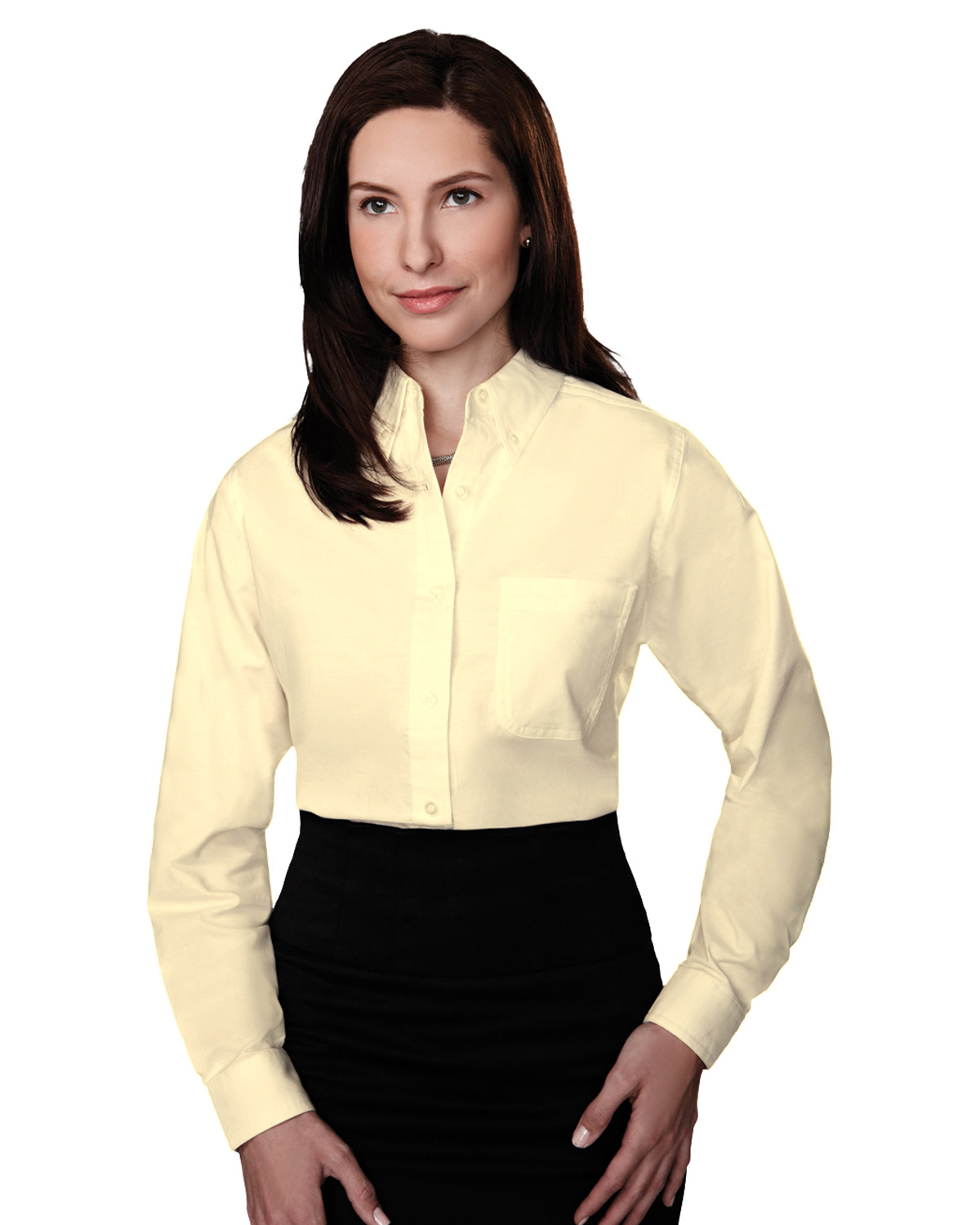 Tri-Mountain 742 Women Echo Stain Resistant Long Sleeve Oxford Shirt at GotApparel