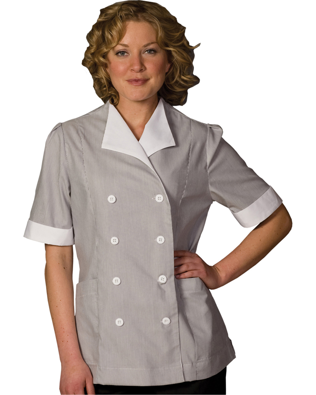 Edwards 7775 Women's Cord Housekeeping Double-Breasted Tunic at GotApparel