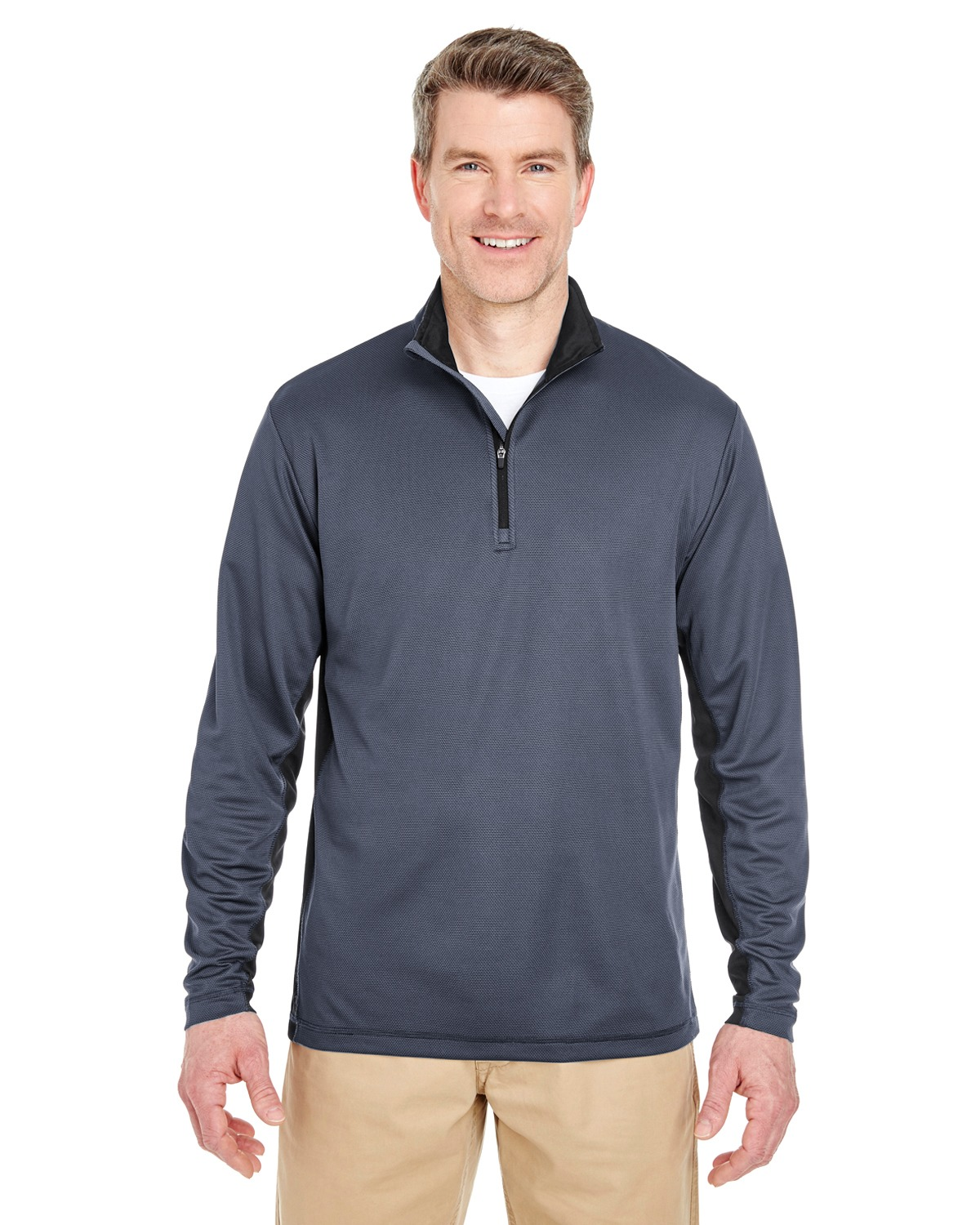 UltraClub 8237 Adult 2-Tone Keyhole Mesh 1/4Zip Pullover at GotApparel