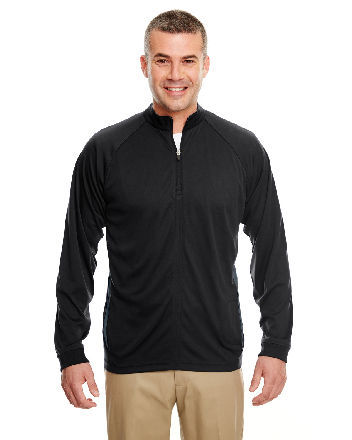 UltraClub 8432 Men Cool & Dry Sport 1/4-Zip Pullover with Side Panels at GotApparel