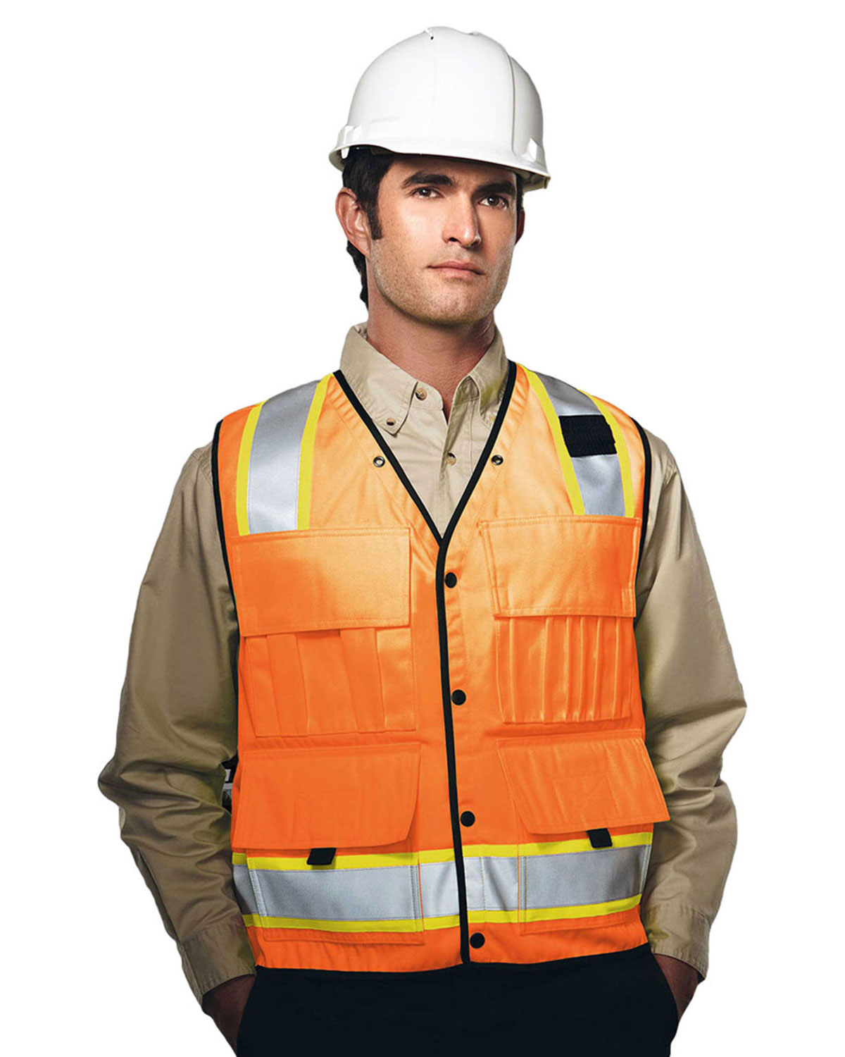 Tri-Mountain 8435 Men Level Water Resistant Heavy Twill Safety Vest at GotApparel