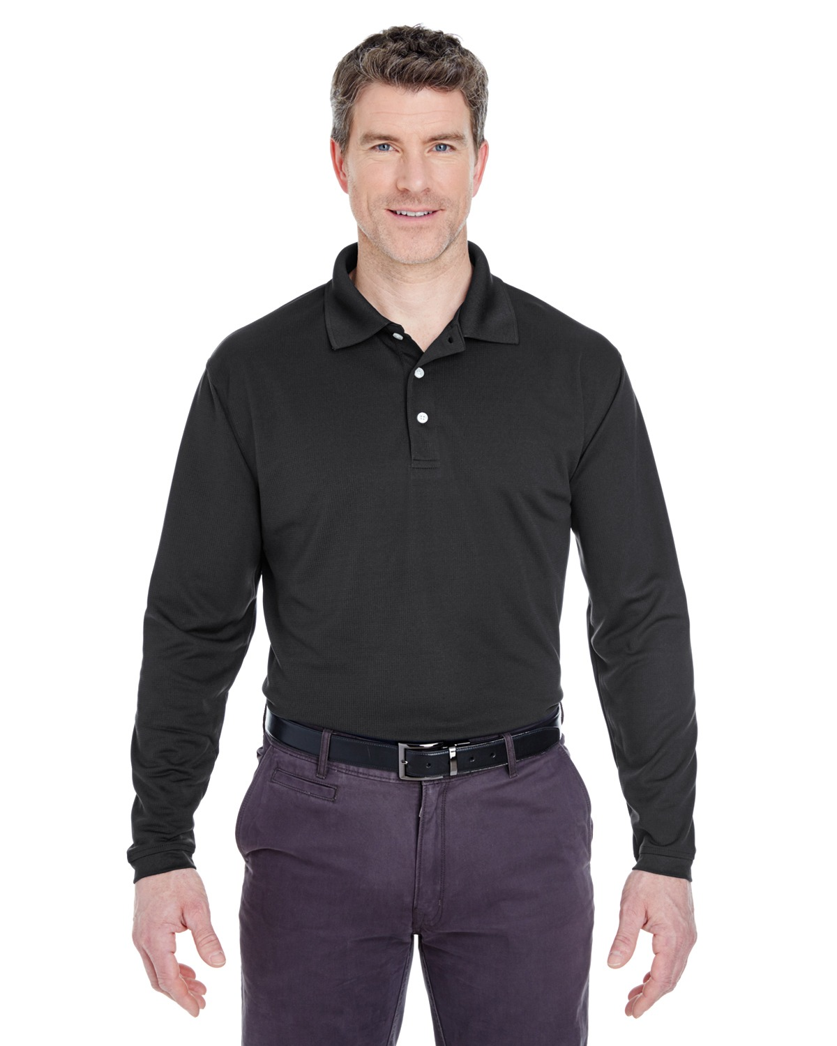 UltraClub 8445LS Men's Cool & Dry Long-Sleeve Stain-Release Performance Polo at GotApparel