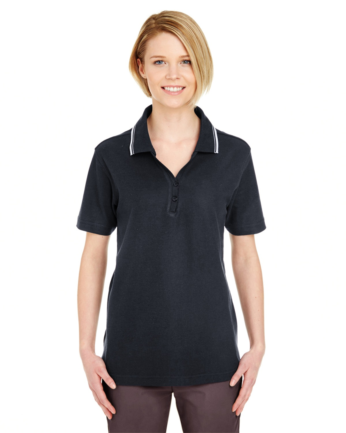 UltraClub 8546 Women short sleeve Whisper Pique Polo with Tipped Collar at GotApparel