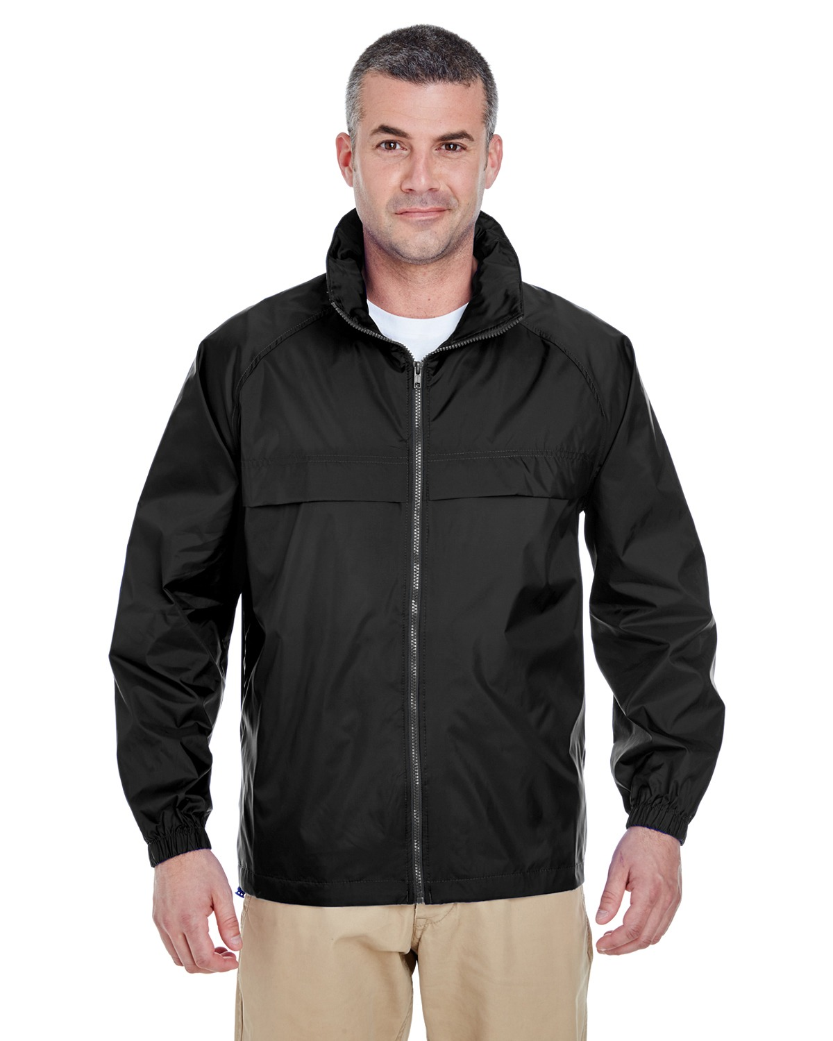 UltraClub 8929 Men Full Zip Hooded PackAway Jacket at GotApparel