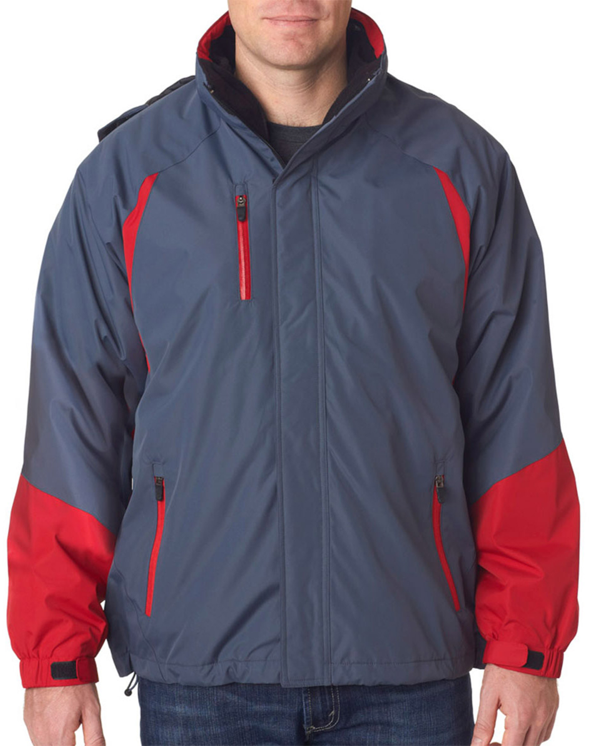 UltraClub 8939 Men Color Block 3-in-1 Systems Hooded Jacket at GotApparel