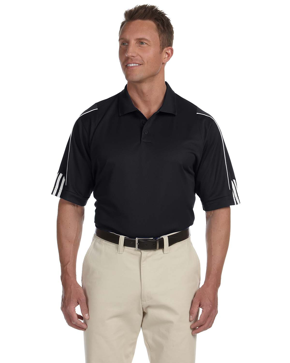 Adidas A76 Men climalite 3-Stripes Cuff Polo at GotApparel