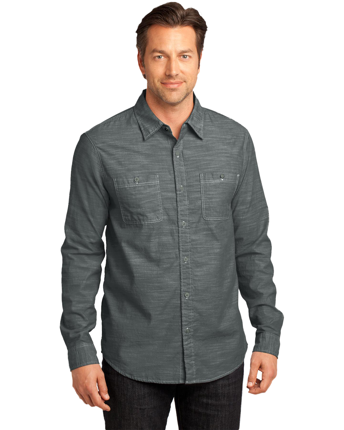 District Made  DM3800 Men Long Sleeve Washed Woven Shirt at GotApparel