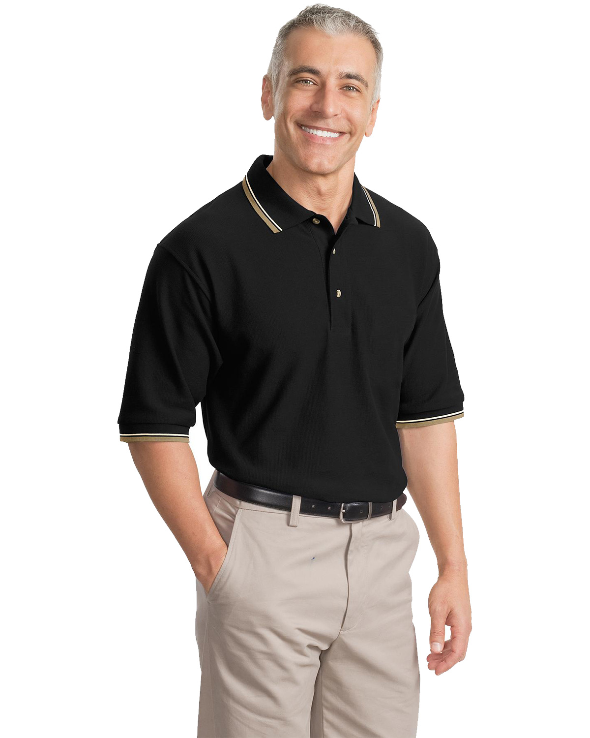 Port Authority K431 Men Cool Mesh™ Polo with Tipping Stripe Trim at GotApparel