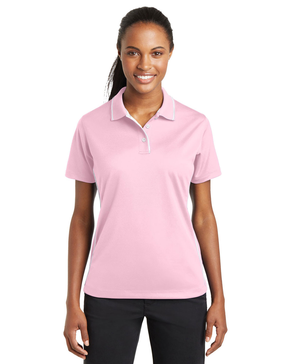 Sport-Tek L467 Women Dri-Mesh Polo with Tipped Collar and Piping at GotApparel
