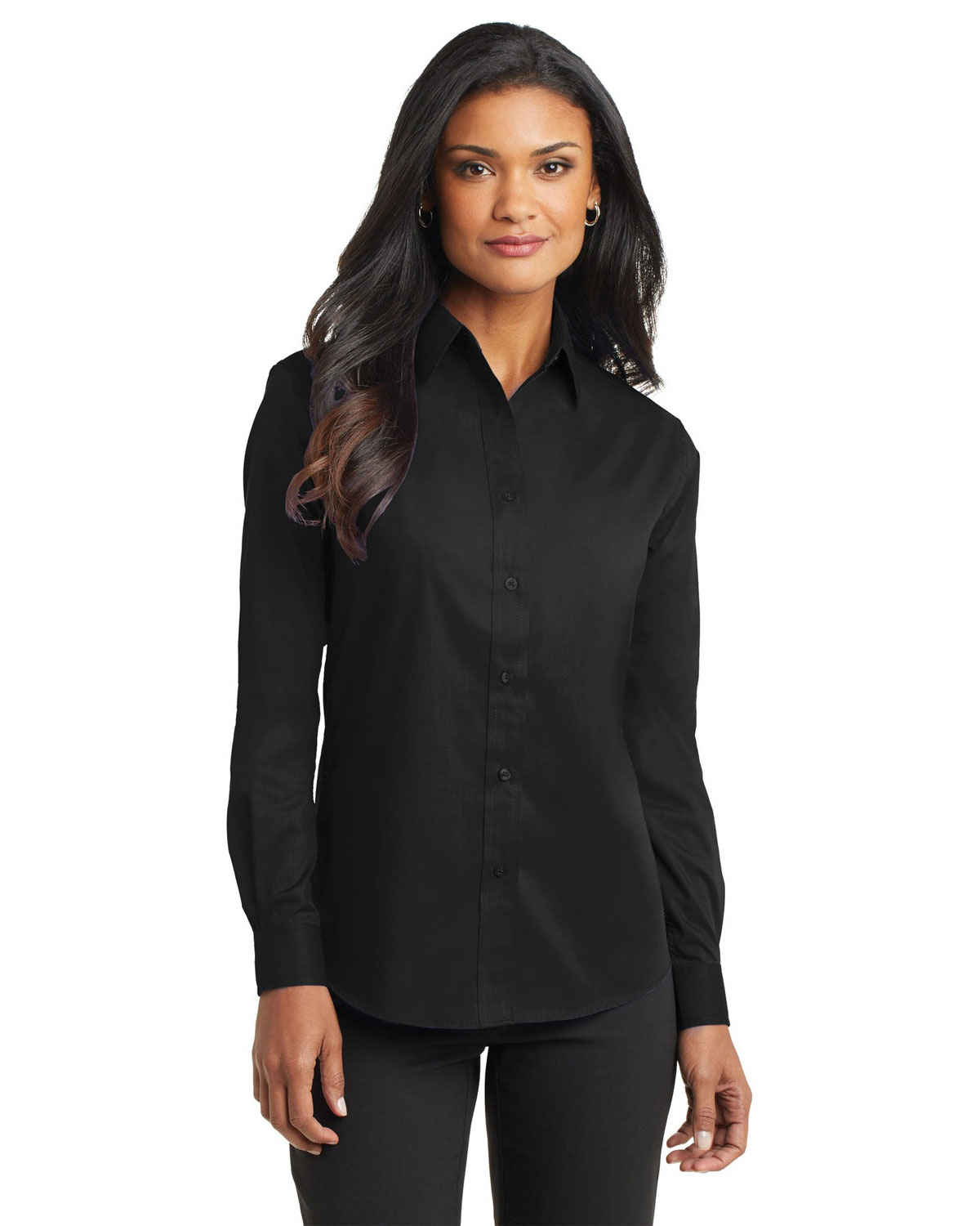 long sleeve poplin shirt port authority ladies long