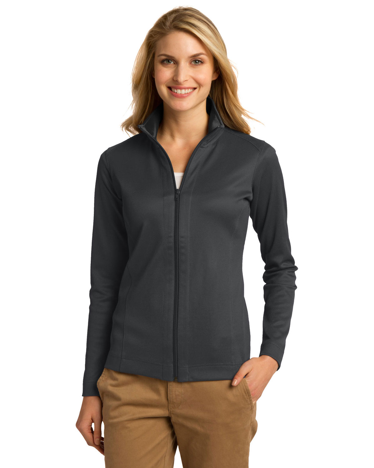 Port Authority L805 Women Vertical Texture Full Zip Jacket at GotApparel