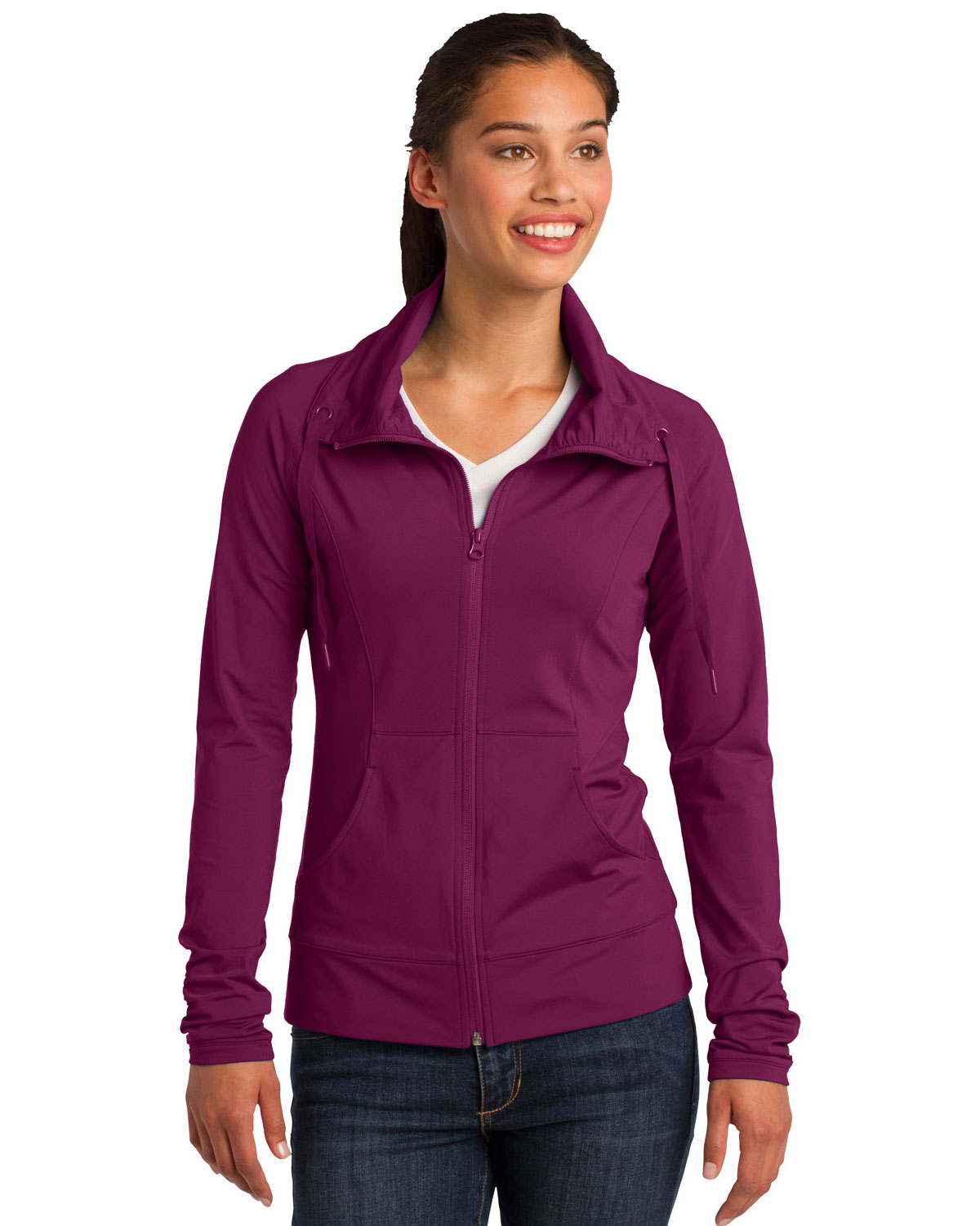 Sport-Tek LST852 Women SportWick Stretch Full Zip Jacket at GotApparel