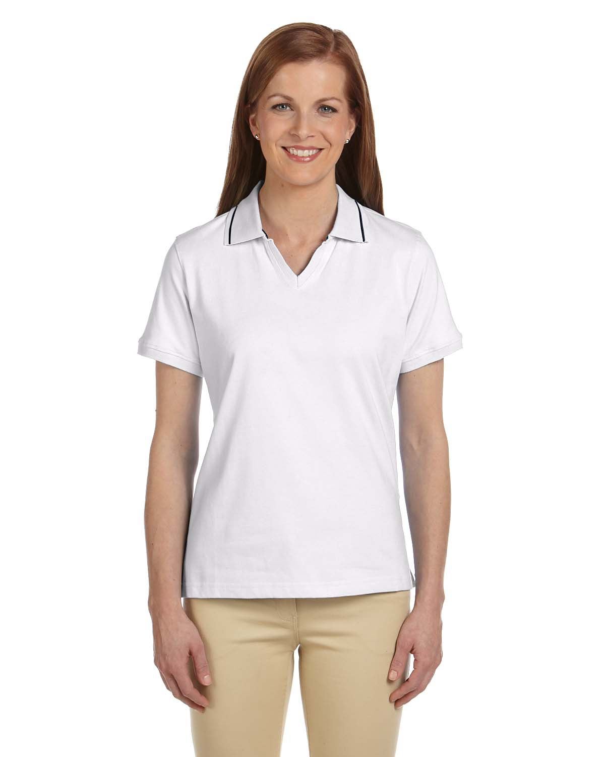 Harriton M140W Women's 5.9 oz. Cotton Jersey Short-Sleeve Polo with Tipping at GotApparel