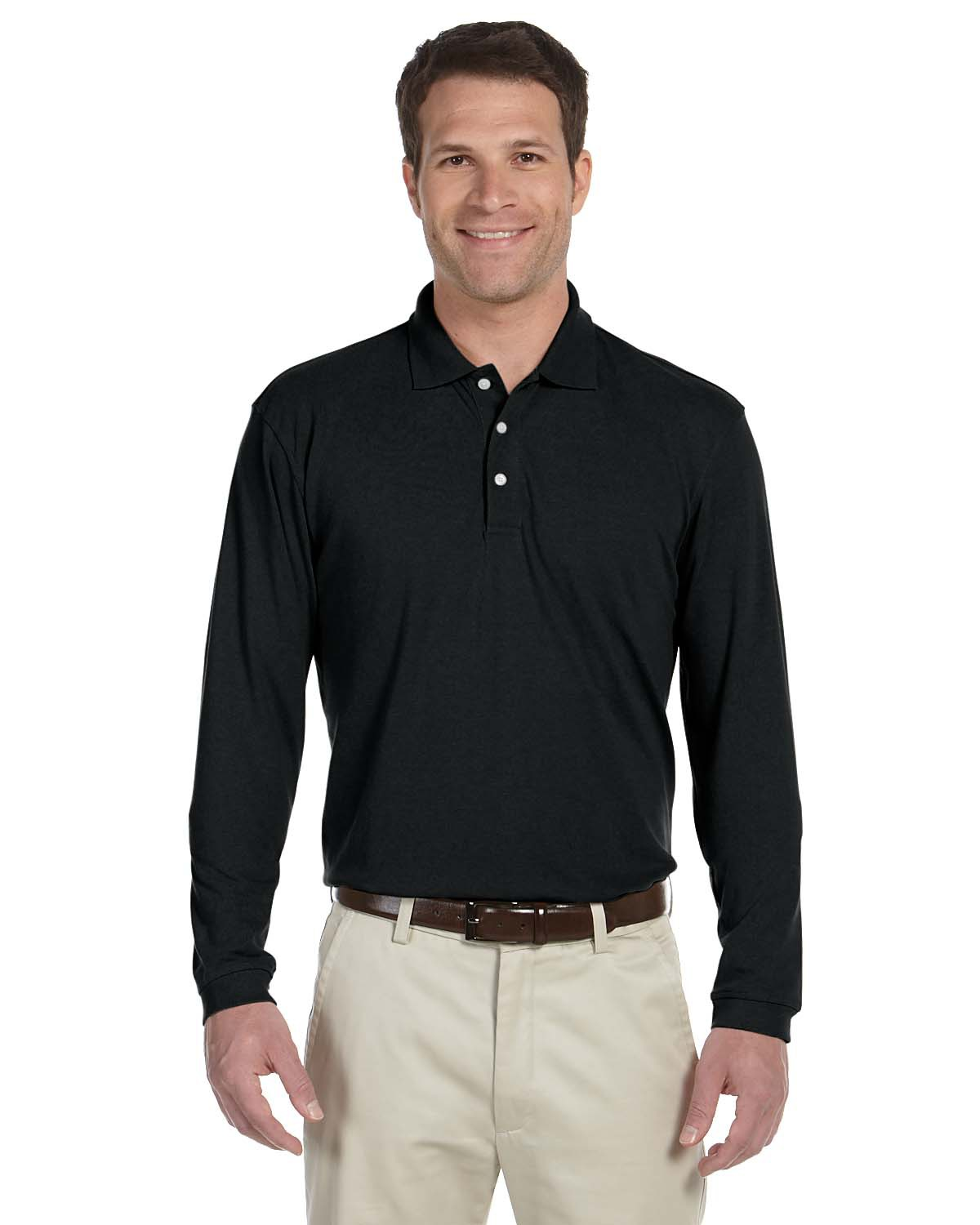 Harriton M265L Men 5.6 oz. Easy Blend Long Sleeve Polo at GotApparel