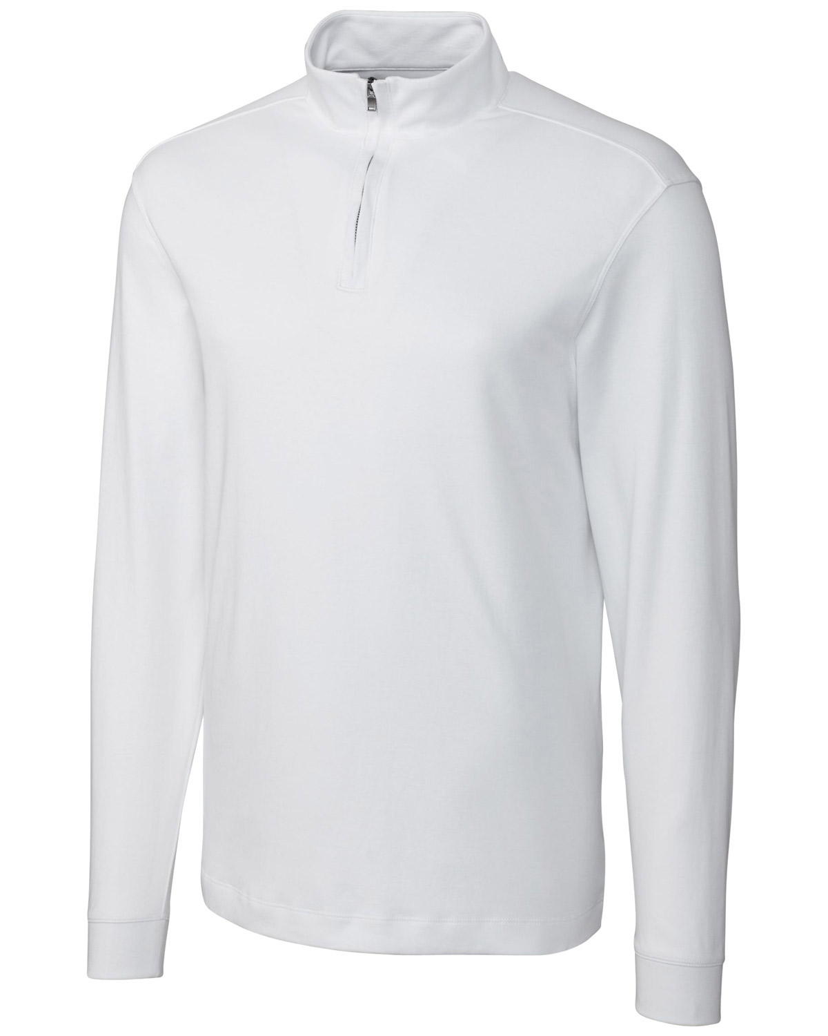 Cutter & Buck MCK00973 Men Long Sleeve Pima Belfair Zip Mock at GotApparel