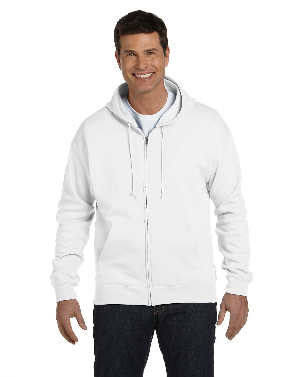 Hanes P180 Men 7.8 oz. ComfortBlend EcoSmart 50/50 Full Zip Hood at GotApparel