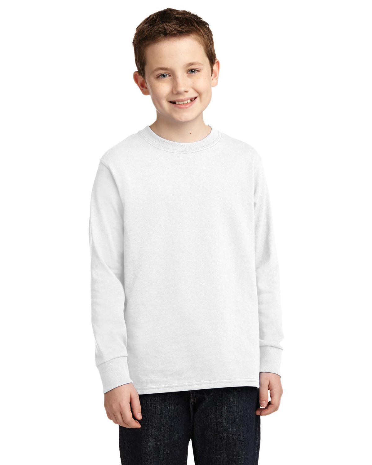Port & Company PC54YLS Boys Long Sleeve 5.4 oz 100% Cotton T-Shirt at GotApparel