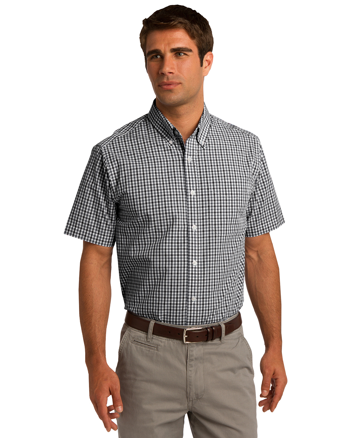 Port Authority S655 Men Short Sleeve Gingham Easy Care Shirt at GotApparel