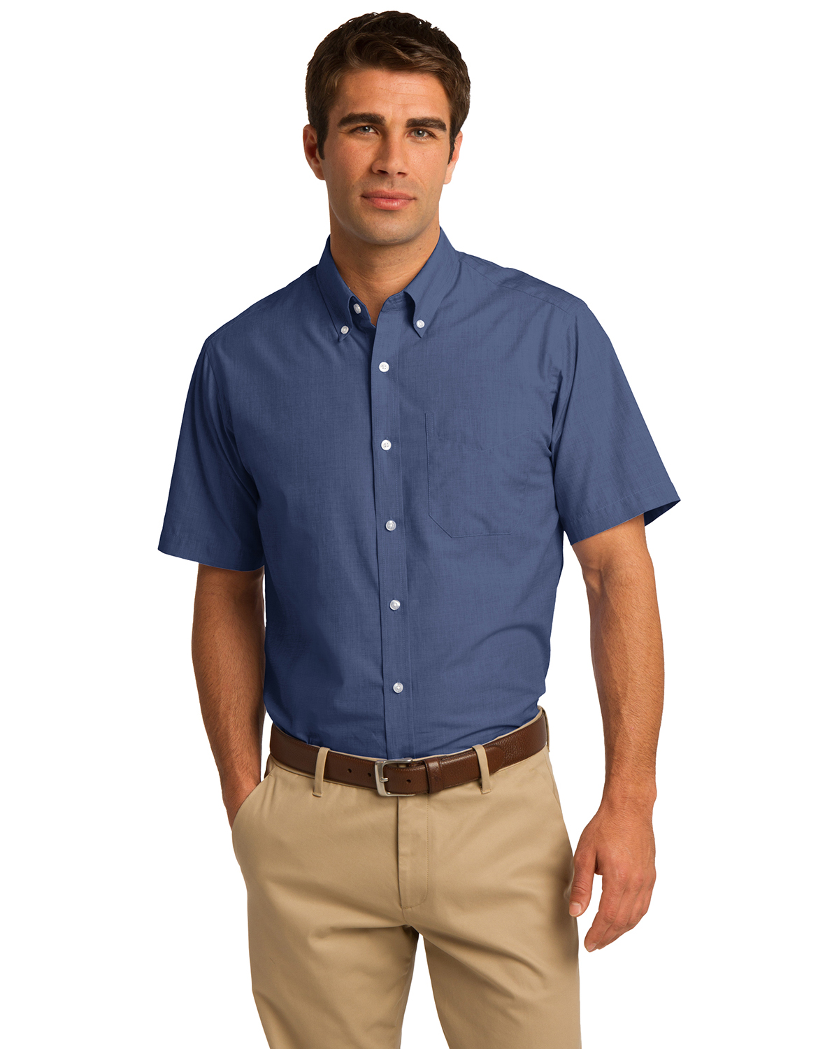 Port Authority S656 Men Short Sleeve Crosshatch Easy Care Shirt at GotApparel