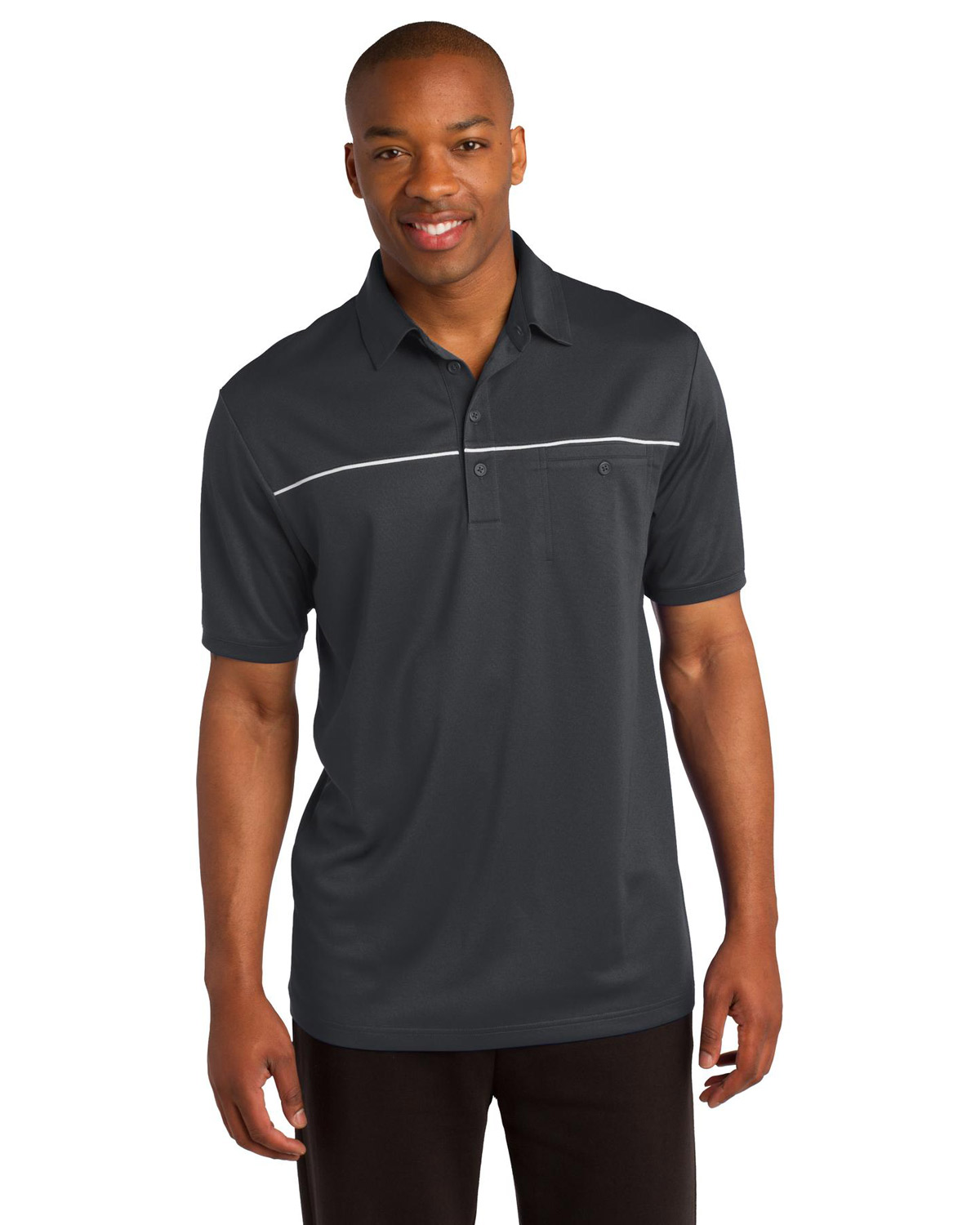 Sport-Tek ST686 Men PosiCharge MicroMesh Piped Polo at GotApparel