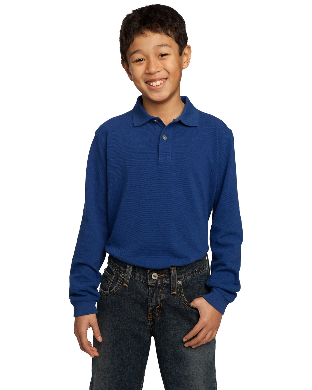 Port Authority Y320 Boys Long Sleeve Pique Knit Polo at GotApparel
