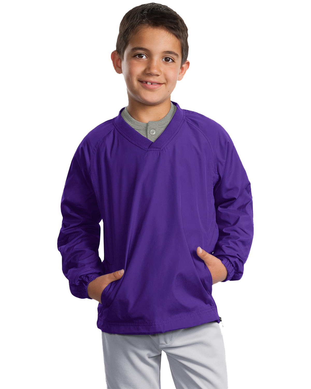 Sport-Tek YST72 Boys V-Neck Raglan Wind Shirt at GotApparel
