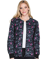 Cherokee 2315C Women Zip Front Knit-Panel Warm-Up Jacket at GotApparel