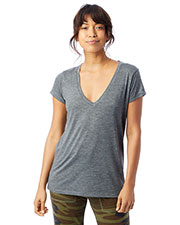 Alternative Apparel 2894B2 Women Ladies' Slinky-Jersey V-Neck T-Shirt at GotApparel