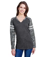 LAT 3534 Women Ladies Gameday Mash-Up Long-Sleeve Fine Jersey T-Shirt at GotApparel